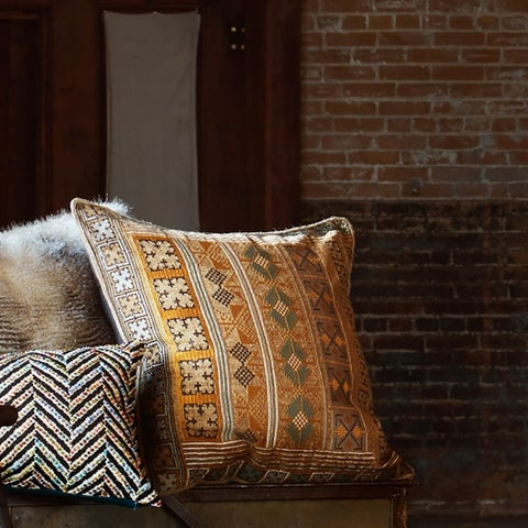 Southwest Boho Gold/ Teal Embroidered 22-inch Pillow Cover