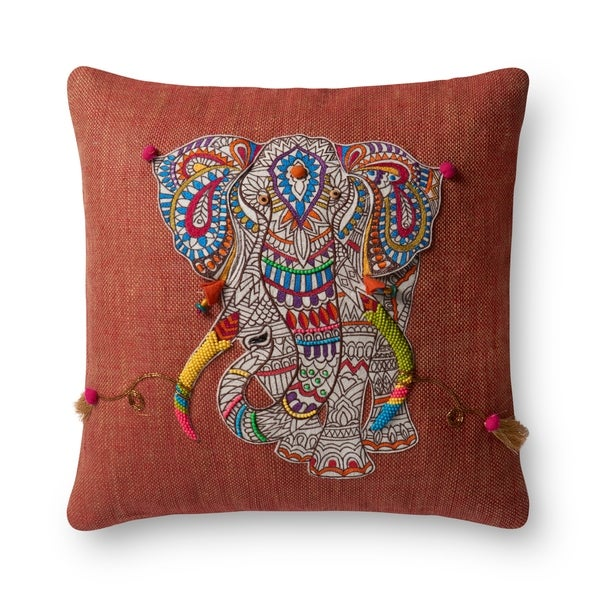 Boho Rust Beaded Elephant Applique 18-inch Pillow Cover. Opens flyout.