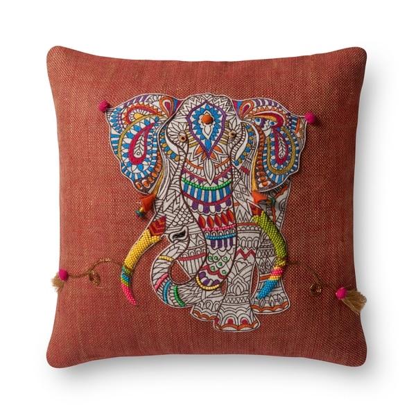 Boho Rust Beaded Elephant Applique 18-inch Throw Pillow