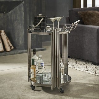 Lonan Black Nickel Metal and Glass Top Bar Cart by iNSPIRE Q Bold