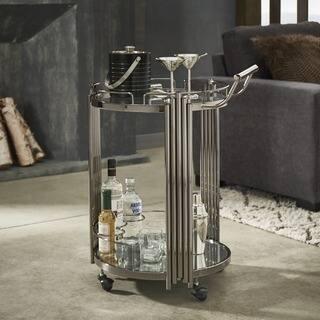 Lonan Black Nickel Metal and Glass Top Bar Cart by iNSPIRE Q Bold