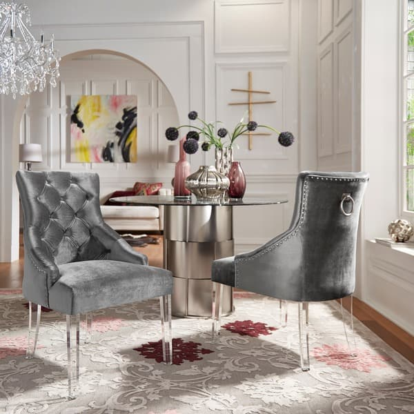 Gina Velvet Tufted Dining Chair Set Of 2 With Acrylic Legs By Inspire Q Bold On Sale Overstock 22974122