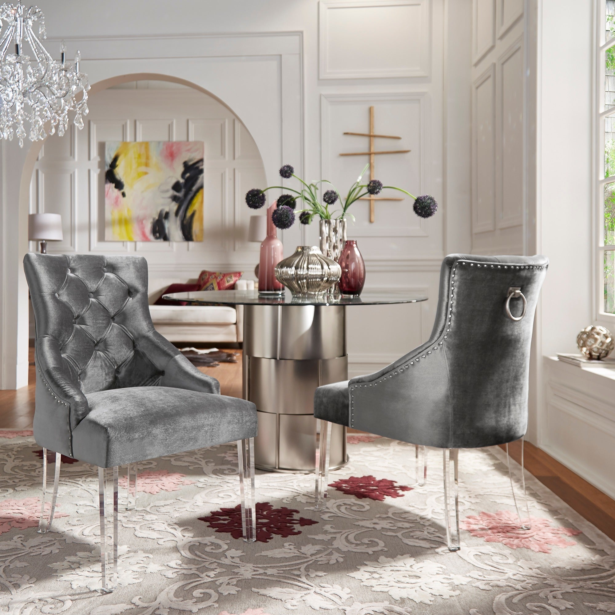 Gina Velvet Tufted Dining Chair Set Of 2 With Acrylic Legs By