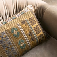 Southwest Boho Gold/ Teal Embroidered 13 x 21 Pillow Cover