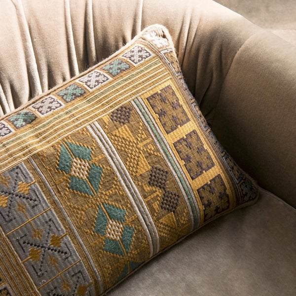 Shop Southwest Boho Gold/ Teal Embroidered 13 X 21 Pillow