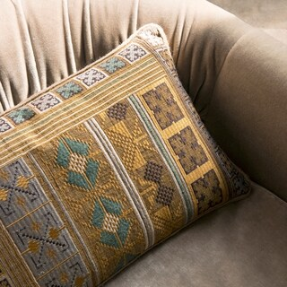 Southwest Boho Gold/ Teal Embroidered 13 x 21 Throw Pillow