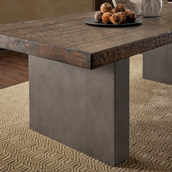 Blake Reclaimed Wood And Concrete Dining Table By Inspire Q Artisan Overstock 22974143