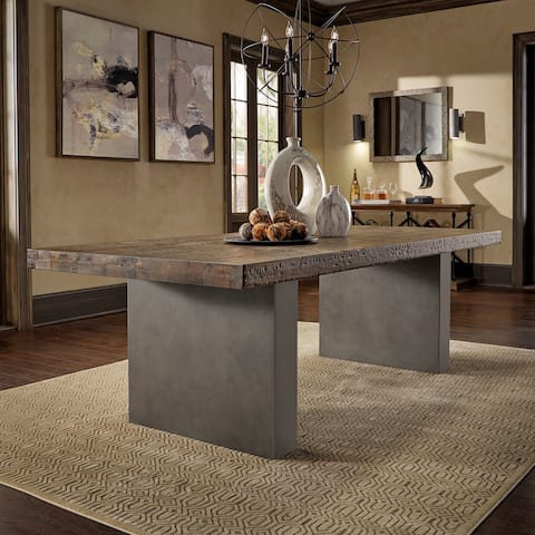 Blake Reclaimed Wood and Concrete Dining Table by iNSPIRE Q Artisan - Burgundy