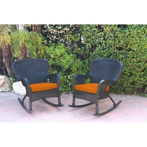 Set of 2 Windsor Black Resin Wicker Rocker Chair with Ivory Cushions