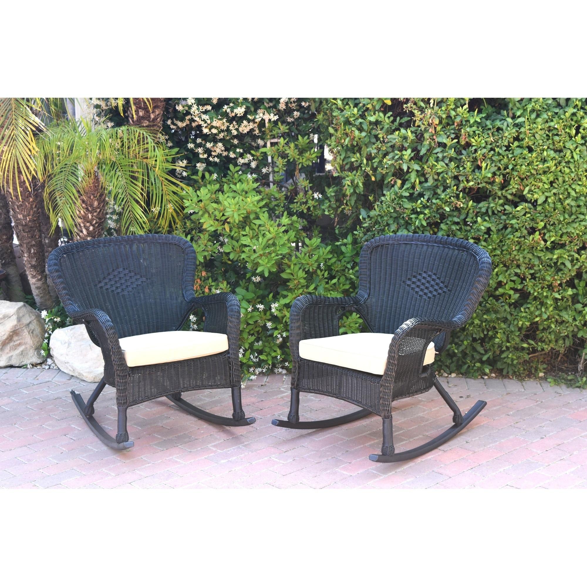 Windsor Black Resin Wicker Rocker Chair