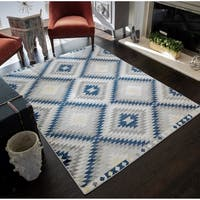 Lache Modern Diamond Bohemian Blue/White Area Rug - 8'9 x 12'