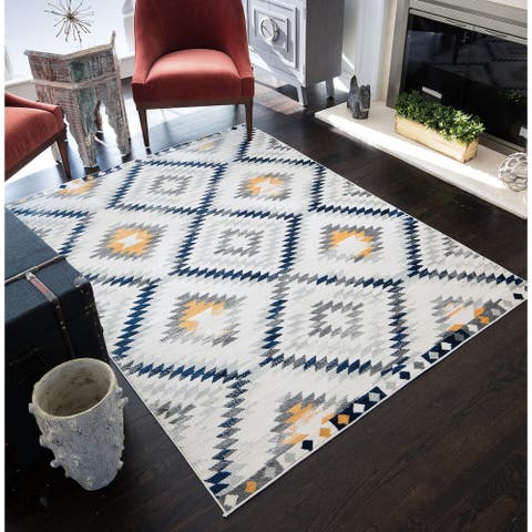 "Robin Distressed Modern Diamond Area Rug - 8'9""x12'"