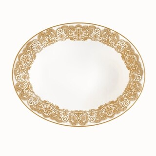 Lismore Lace Gold White 9.75-inch Open Vegetable Bowl