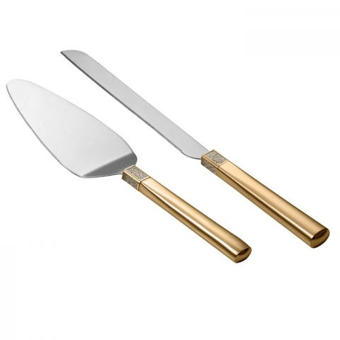 Lismore Diamond Gold Cake Knife and Server
