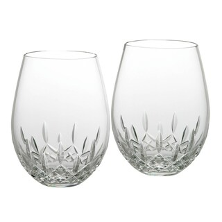 Lismore Nouveau Clear 12oz. Stemless Wine Deep Red (Set of 2)