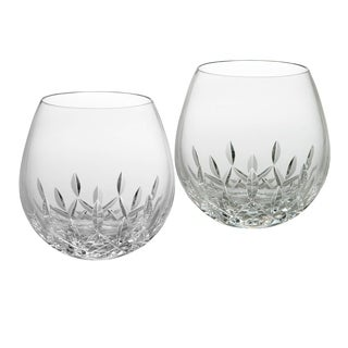 Lismore Nouveau Clear 12oz. Stemless Wine Light Red (Set of 2)