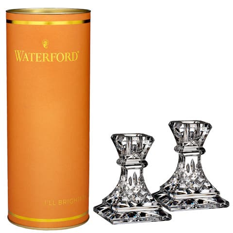 Giftology Clear 4-inch Lismore Candlestick (Set of 2) and Orange Tube