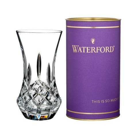 Giftology Clear 6-inch Lismore 'Bon Bon' Vase and Purple Tube
