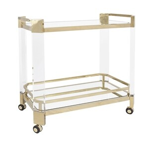 Clear Acrylic Gold Accent Wheel Bar Cart