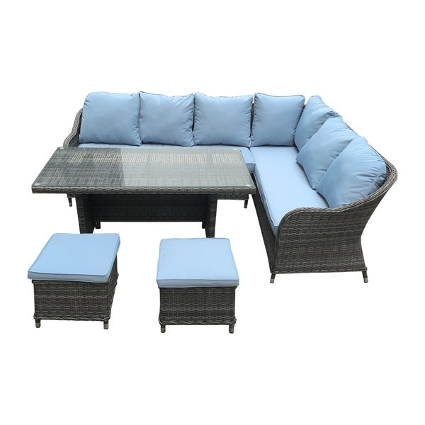 Shop Rimini Grey and Light Blue 5-piece Outdoor Sectional ... on 5 Piece Sectional Patio Set id=37132