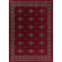 GAD Classic Collection Bokhara Red BlackTraditional Area Rug - 7'10 x 10'13