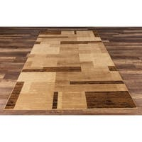 GAD Vanguard Collection Tas Beige Transitional Area Rug - 6'7 x 9'2