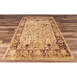 GAD Enduring Collection Victorian Red Cream Transitional Area Rug