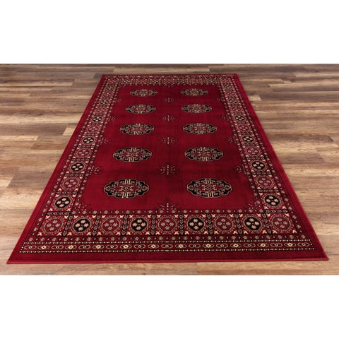 GAD Classic Collection Bokhara Red BlackTraditional Area Rug - 3'11 x 6'