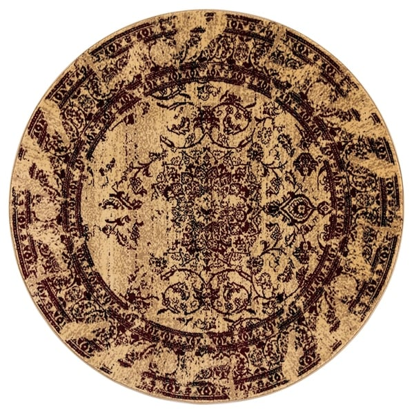 GAD Enduring Collection Villa Red Cream Transitional Area Rug - 5'3