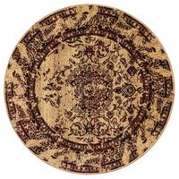 GAD Enduring Collection Villa Red/Cream Round Transitional Area Rug - 5'3 Round