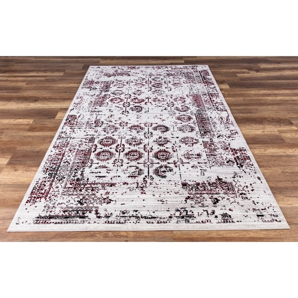 GAD Enduring Collection Serene Red Gray Transitional Area Rug