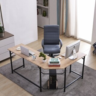 Office Desk L-Shape Corner Computer PC Latop Study Table Workstation Home Office Wood & Metal
