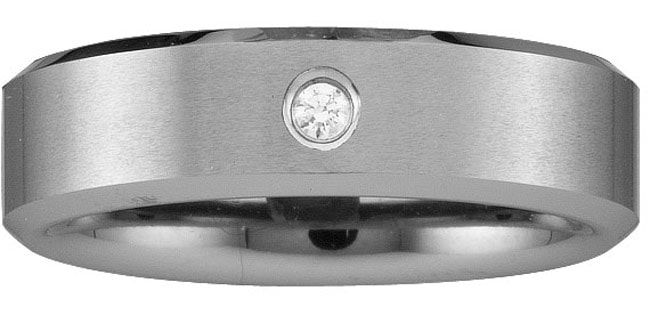 Men's Tungsten Carbide Scratch-resistant Single-diamond Band (8 mm)