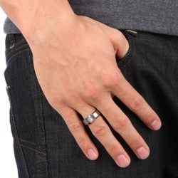 Men's Tungsten Carbide Scratch-resistant Single-diamond Band (8 mm) - Thumbnail 1