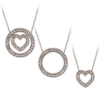 DB Designs Silver 1/8ct Diamond 3-in-1 Circle Heart Necklace