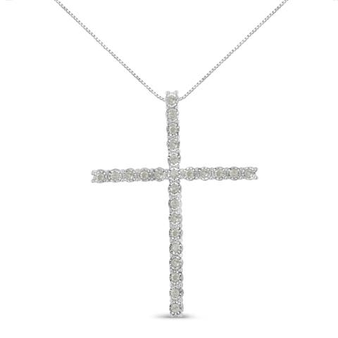 Sterling Silver 0.50ct Diamond Cross Pendant Necklace (I-J, I3-Promo)