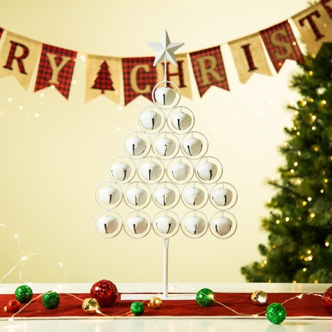 """Glitzhome 24.2""""H Christmas Iron White Bell Table Tree"""