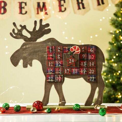 "Glitzhome 21.74""L Wooden Reindeer Countdown Advent Calendar"