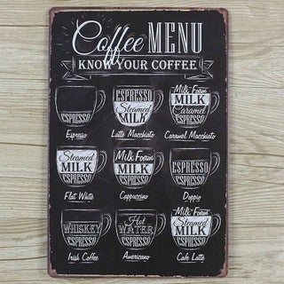 "Vintage #3 Coffee Metal Sign 12"" x 8"""