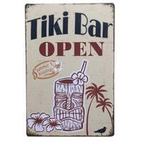 """Vintage #16 Tiki Bar Open Metal Sign 12"""" x 8"""""""