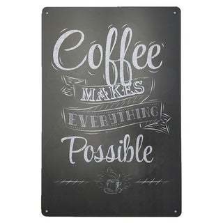 """Vintage #32 Coffe Makes Everything Possible Metal Sign 12"""" x 8"""""""