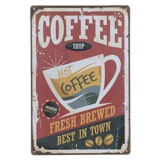 "Vintage #34 Coffe Shop Metal Sign 12"" x 8"""