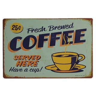 "Vintage #40 Fresh Brewed Coffee Metal Sign 12"" x 8"""