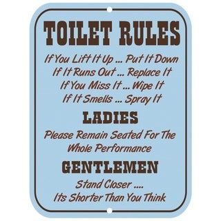 "Vintage Toilet Rules Metal Sign 9"" x 12"""
