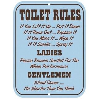 """Vintage Toilet Rules Metal Sign 9"""" x 12"""""""