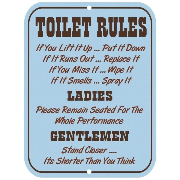 Vintage Toilet Rules Metal Sign 9