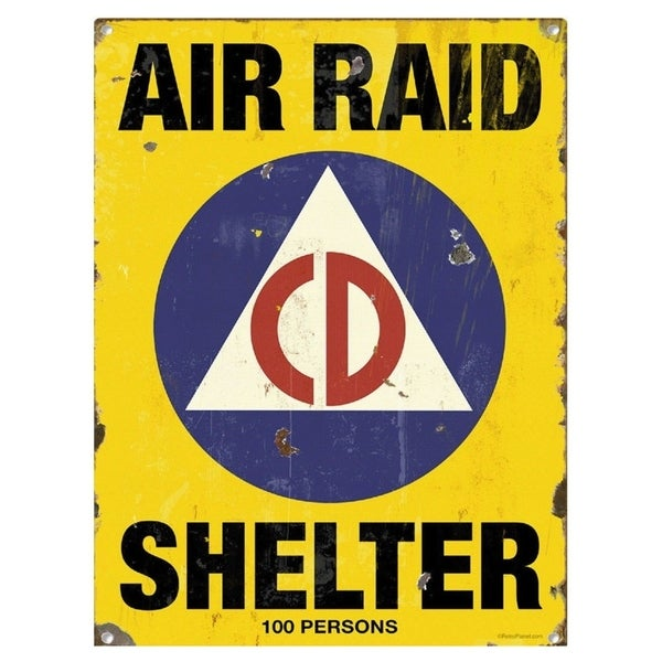 "Vintage Air Raid Shelter Metal Sign 9"" x 12"""