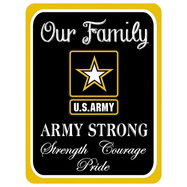 """Vintage Army Strong Family Metal Sign 9"""" x 12"""""""