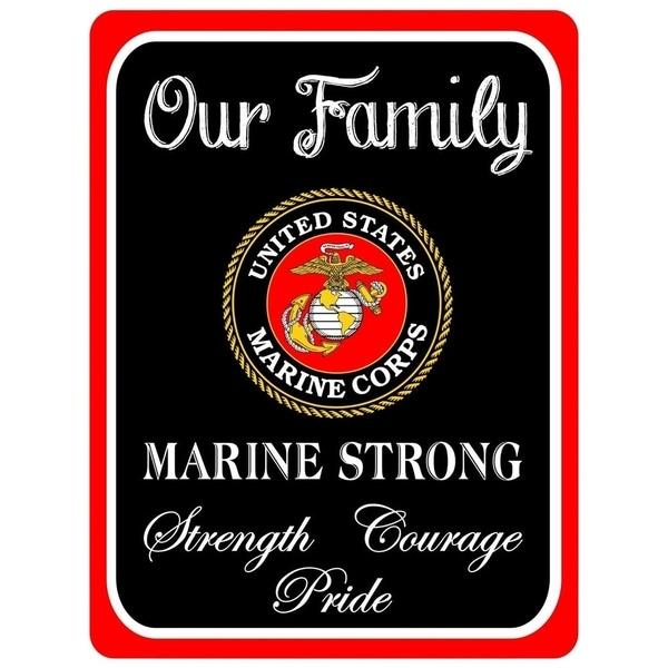 "Vintage Marine Strong Metal Sign 9"" x 12"""
