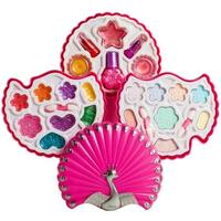 Dimple DC13979 Kids Peacock Shaped Compact, Cosmetic Pretend Washable Makeup Play Set for Girls